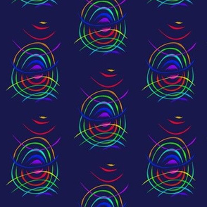 Bouncing Bands of Colour on Navy