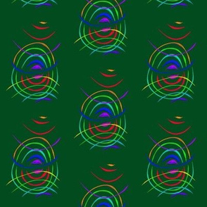 Bouncing Bands of Colour on Dark Forest Green
