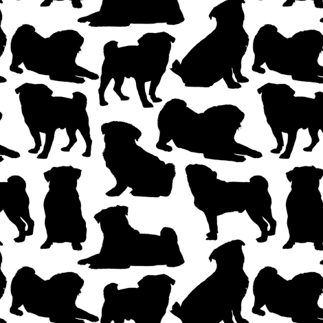 "Pug SIlhouettes - Small (2"") fabric by thinlinetextiles on Spoonflower - custom fabric"