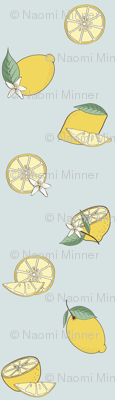Lemon Fabric Design Blue Background