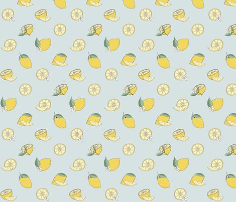 Lemon Fabric Design Blue Background fabric by bella_modiste on Spoonflower - custom fabric