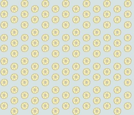 Simple 1 inch wide Lemon Fabric Blue Background fabric by bella_modiste on Spoonflower - custom fabric