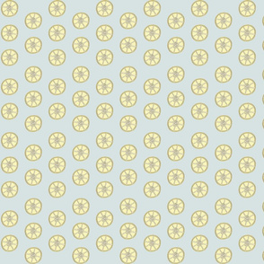 Simple 1 inch wide Lemon Fabric Blue Background