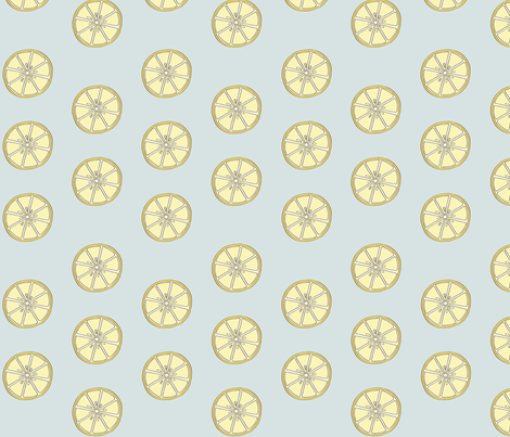 Simple 2 inch wide Lemon Fabric Blue Background fabric by bella_modiste on Spoonflower - custom fabric