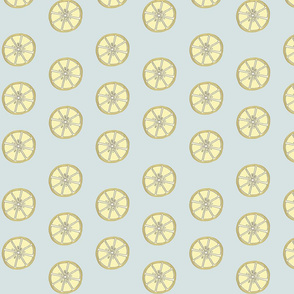 Simple 2 inch wide Lemon Fabric Blue Background