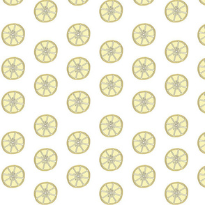 Simple 2 inch wide Lemon Fabric White Background