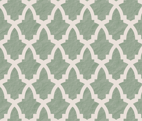 Morrocan Tile Green Tile on Cream with Texture fabric by bella_modiste on Spoonflower - custom fabric