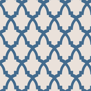 Moroccan Tile Cream Tile on Blue