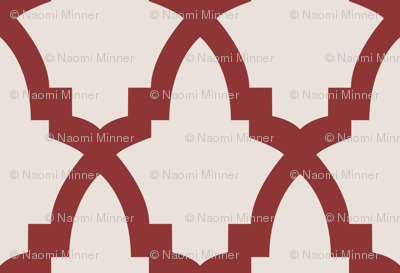 Moroccan Tile Cream Tile on Red