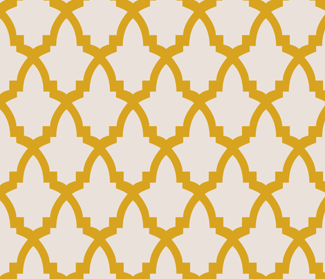 Moroccan Tile Cream Tile on Yellow fabric by bella_modiste on Spoonflower - custom fabric