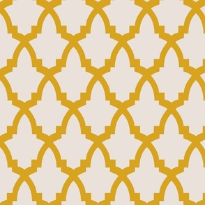 Moroccan Tile Cream Tile on Yellow