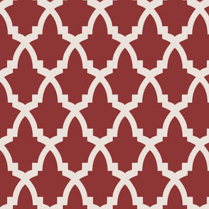 Moroccan Tile Red Tile on Cream