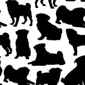 "Pug Silhouettes - Large (3"")"