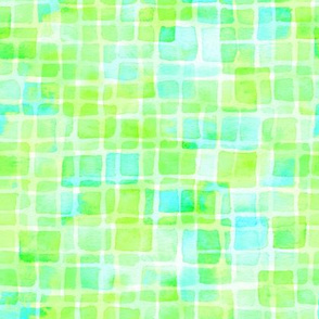 double watercolor squares - lime and aqua