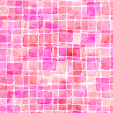 double watercolor squares - magenta and red fabric by weavingmajor on Spoonflower - custom fabric