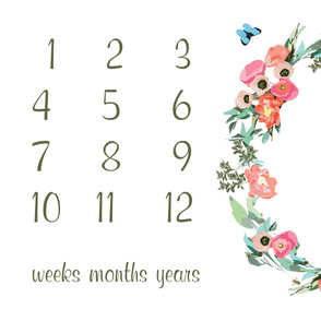 "54"" X 36"" - milestone blanket baby floral wreath baby blanket photo prop new baby gift calendar"