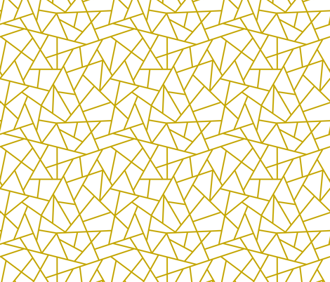 Abstract Geometric Gold On White Small Fabric Sierra