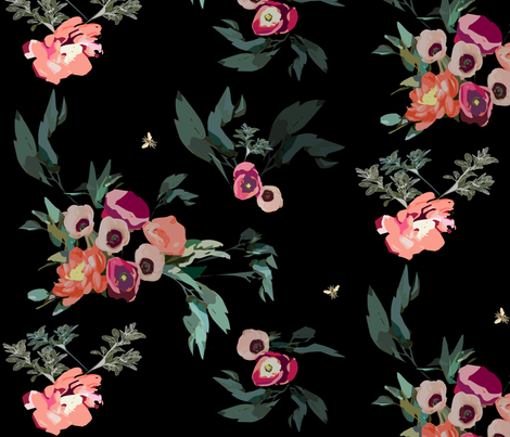 Chinoiserie Dark Jungle Amazonia Xanadu Siberia Fabric fabric by jenlats on Spoonflower - custom fabric