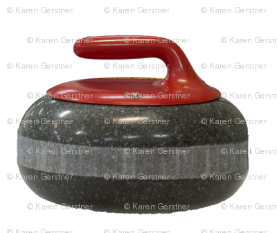 red-curling-stone