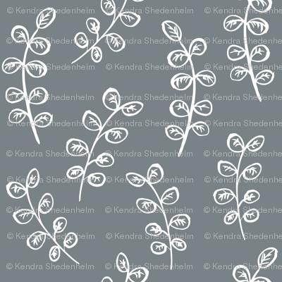 Brush Pen Leaves (White on Grey)