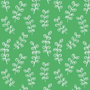 Brush Pen Leaves (White on Green)