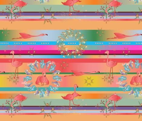 Flamingo Sunset Serape fabric by marion_mwr on Spoonflower - custom fabric
