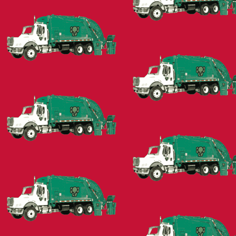 Tossed Garbage Trucks on Red fabric by gethugged on Spoonflower - custom fabric