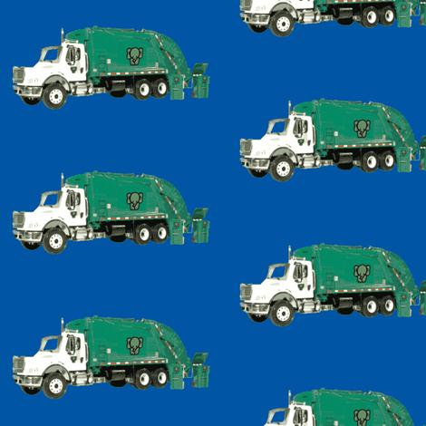 Tossed Garbage Trucks on Blue fabric by gethugged on Spoonflower - custom fabric