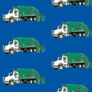 Tossed Garbage Trucks on Blue