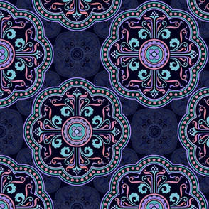 Persian ornaments in navy blue