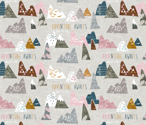 Max's Mountains (pink) REGULAR fabric by nouveau_bohemian on Spoonflower - custom fabric