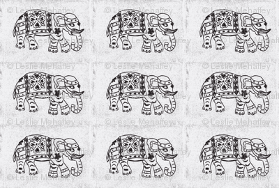Black Elephant on gray-white background