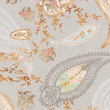 Boho Paisley  (gold) fabric by nouveau_bohemian on Spoonflower - custom fabric