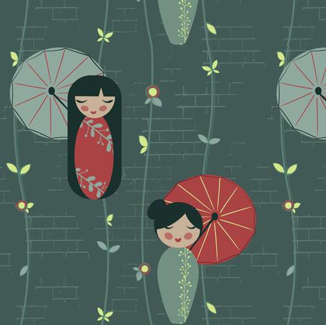Japanese Garden Dolls fabric by jennifer_todd on Spoonflower - custom fabric
