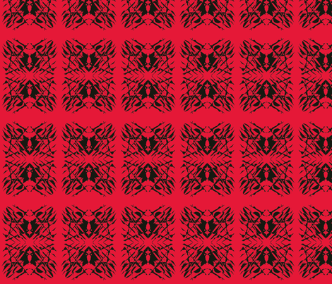 Cobwebs Catch the Unwary on Poppy Red fabric by rhondadesigns on Spoonflower - custom fabric