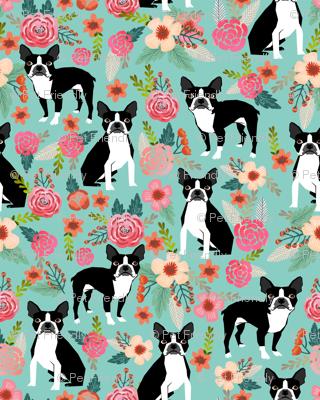 boston terrier sweet vintage florals flowers dog pet design mint girls spring dog