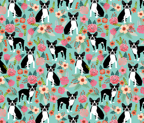 boston terrier sweet vintage florals flowers dog pet design mint girls spring dog fabric by petfriendly on Spoonflower - custom fabric