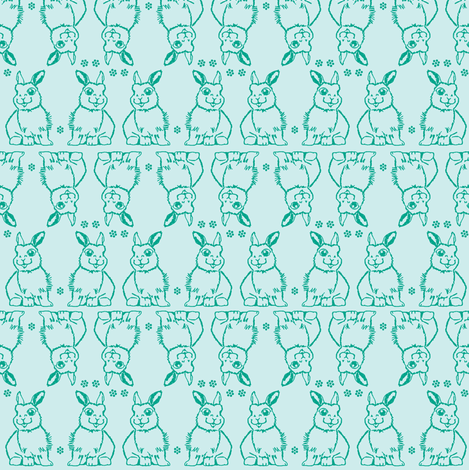 Baby Bunny Two Tone Blue fabric by christinaostnerdesign on Spoonflower - custom fabric