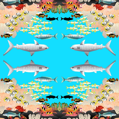 Hawaiian Reef Scene Mirrored fabric by combatfish on Spoonflower - custom fabric