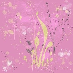 Pink and Yellow Spring Watercolor