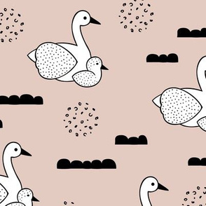 Geometric Scandinavian style spring swan birds mother and baby gender neutral beige Large