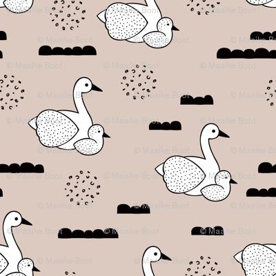 Geometric Scandinavian style spring swan birds mother and baby gender neutral beige XS