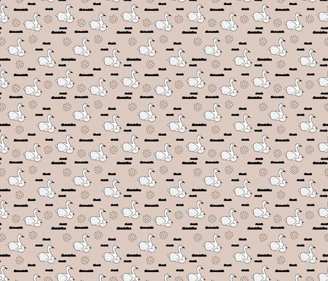 Geometric Scandinavian style spring swan birds mother and baby gender neutral beige XS fabric by littlesmilemakers on Spoonflower - custom fabric