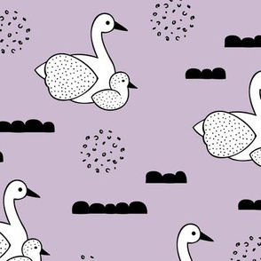 Geometric Scandinavian style spring swan birds mother and baby violet Large