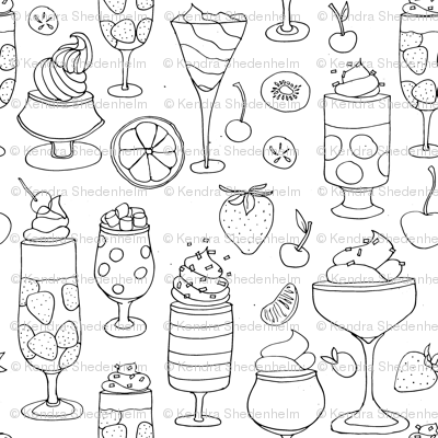 Drawing of Jell-o Desserts (black on white)