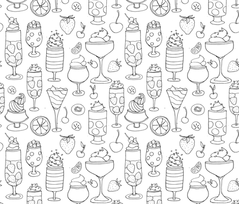 Drawing of Jell-o Desserts (black on white) fabric by kendrashedenhelm on Spoonflower - custom fabric