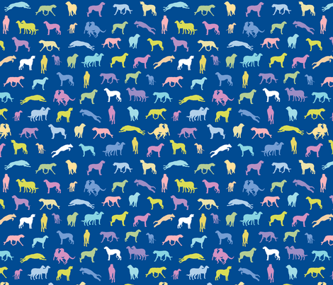Scottish Deerhounds BLUE fabric by gryphonart on Spoonflower - custom fabric