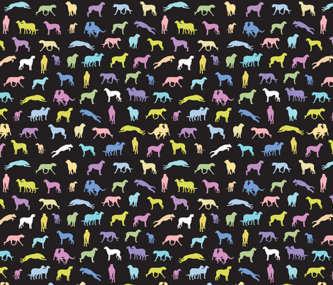 Scottish Deerhounds BLACK fabric by gryphonart on Spoonflower - custom fabric