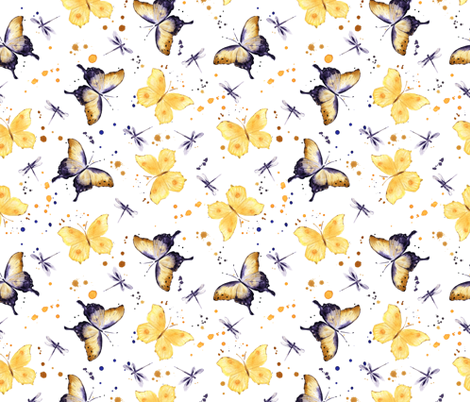 Watercolor butterflies fabric by maria_pedinich on Spoonflower - custom fabric