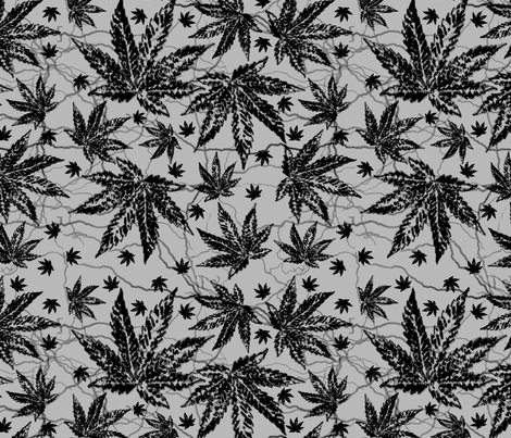 Black & Gray Ganja fabric by camomoto on Spoonflower - custom fabric